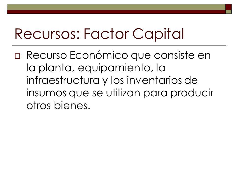 Recursos: Factor Capital Recurso Económico que consiste en la planta, equipamiento, la infraestructura y los inventarios de insumos que se utilizan pa