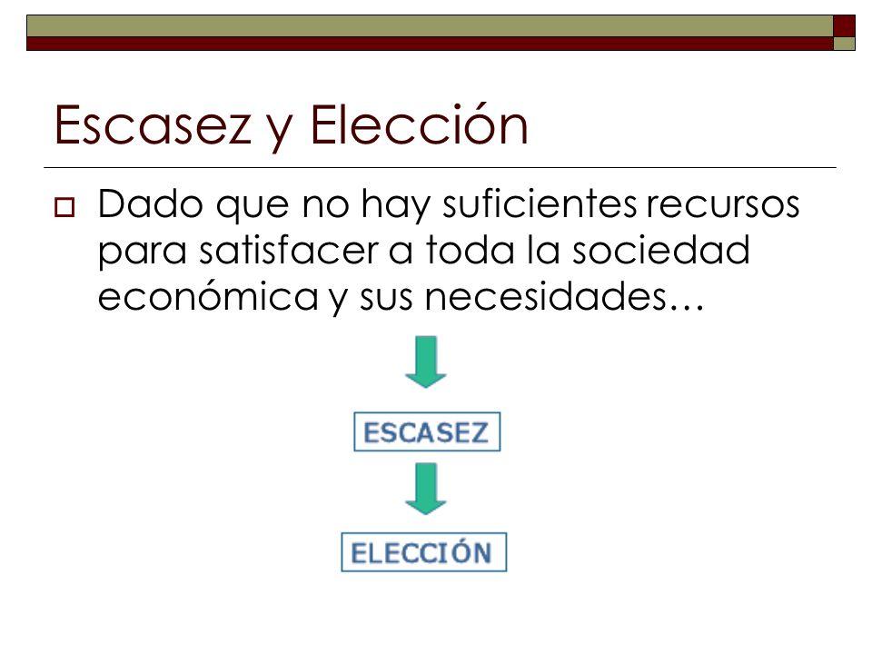 Escasez y Elección Dado que no hay suficientes recursos para satisfacer a toda la sociedad económica y sus necesidades…