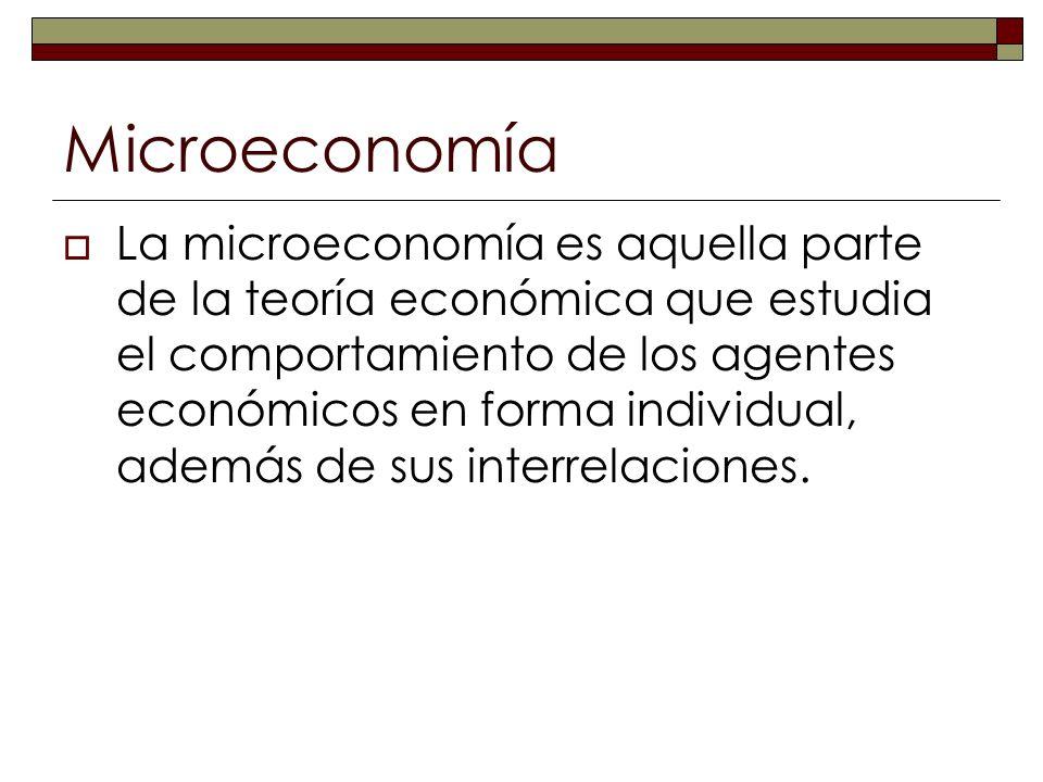 Microeconomía La microeconomía es aquella parte de la teoría económica que estudia el comportamiento de los agentes económicos en forma individual, ad