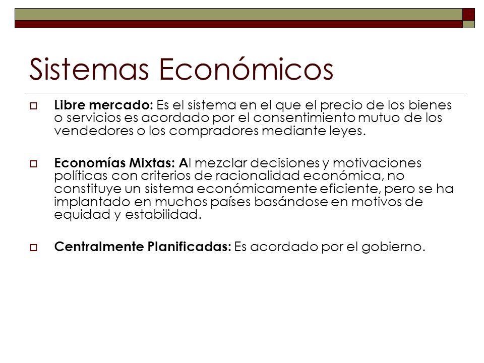 Sistemas Económicos Libre mercado: Es el sistema en el que el precio de los bienes o servicios es acordado por el consentimiento mutuo de los vendedor
