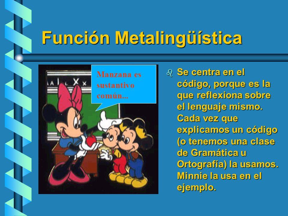 Función Metalingüística b Se centra en el código, porque es la que reflexiona sobre el lenguaje mismo. Cada vez que explicamos un código (o tenemos un