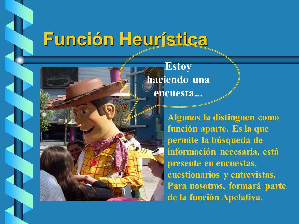 Función Heurística Estoy haciendo una encuesta... Algunos la distinguen como función aparte. Es la que permite la búsqueda de información necesaria, e