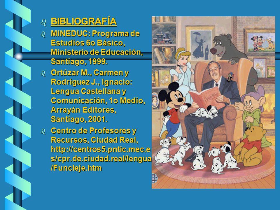 b BIBLIOGRAFÍA b MINEDUC: Programa de Estudios 6o Básico, Ministerio de Educación, Santiago, 1999. b Ortúzar M., Carmen y Rodríguez J., Ignacio: Lengu