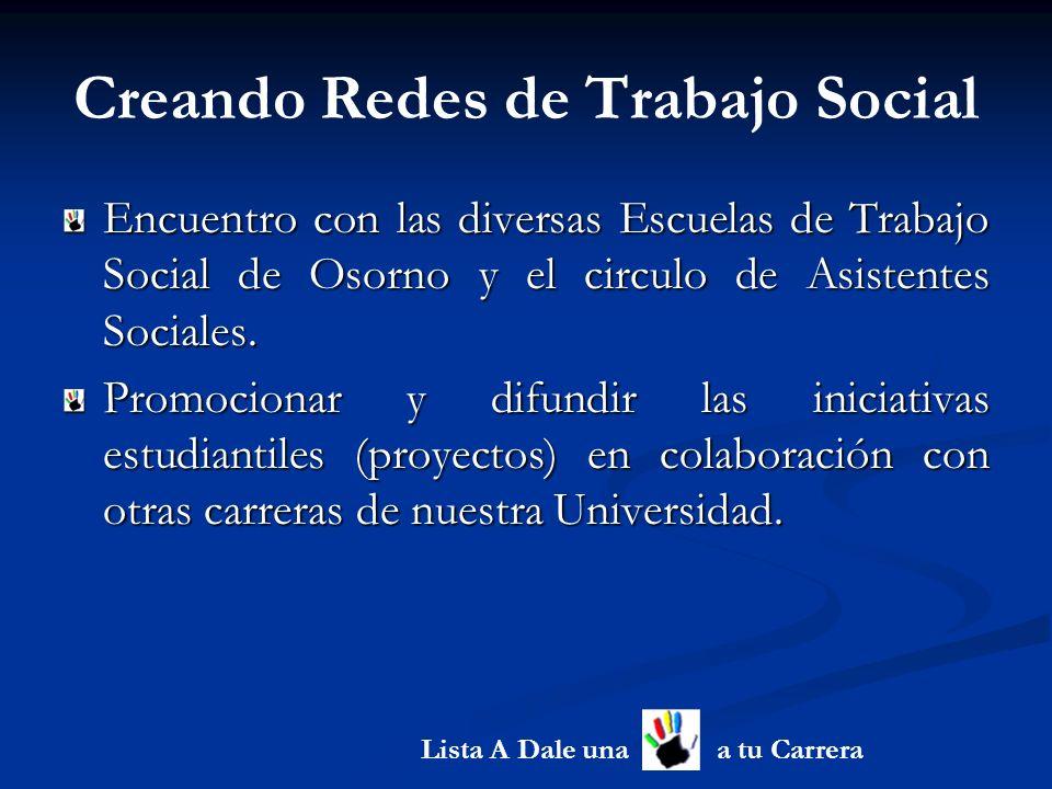 Creando Redes de Trabajo Social Encuentro con las diversas Escuelas de Trabajo Social de Osorno y el circulo de Asistentes Sociales.