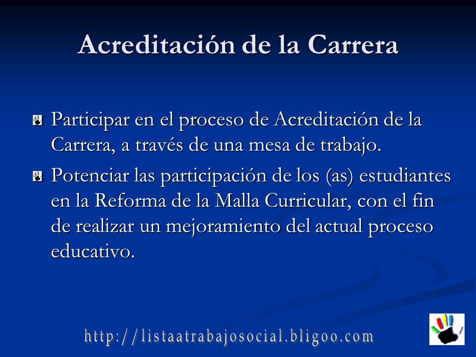 Acreditación de la Carrera Participar en el proceso de Acreditación de la Carrera, a través de una mesa de trabajo.