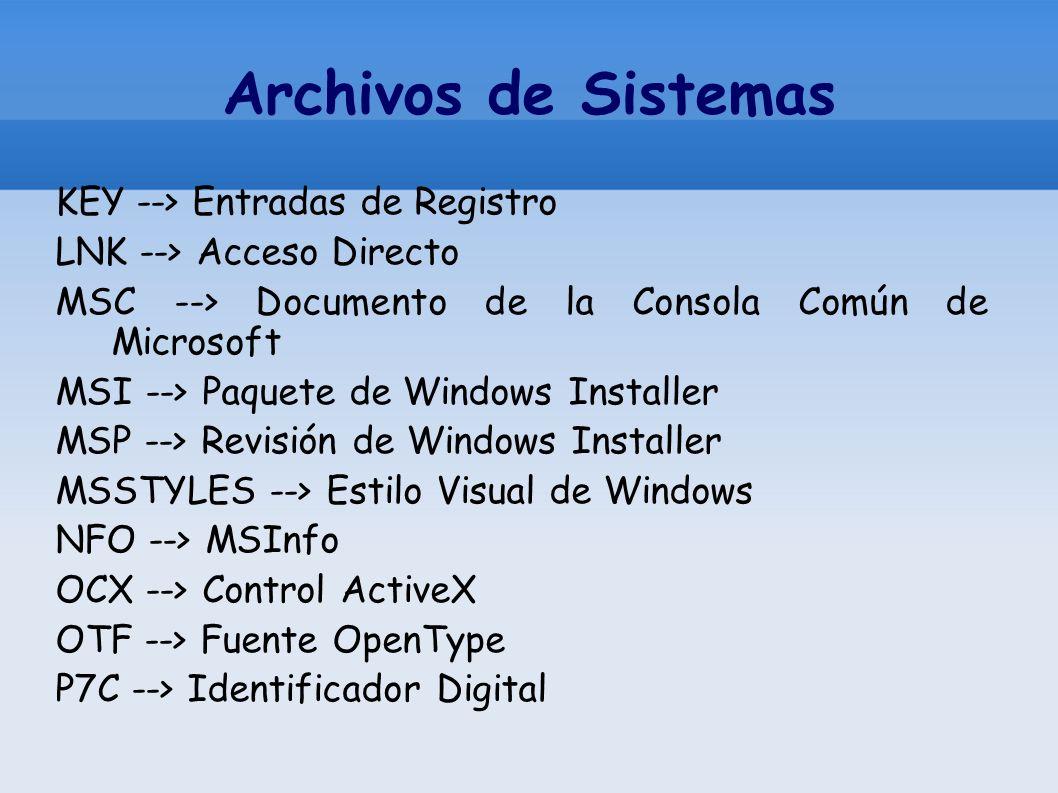 Archivos de Sistemas KEY --> Entradas de Registro LNK --> Acceso Directo MSC --> Documento de la Consola Común de Microsoft MSI --> Paquete de Windows