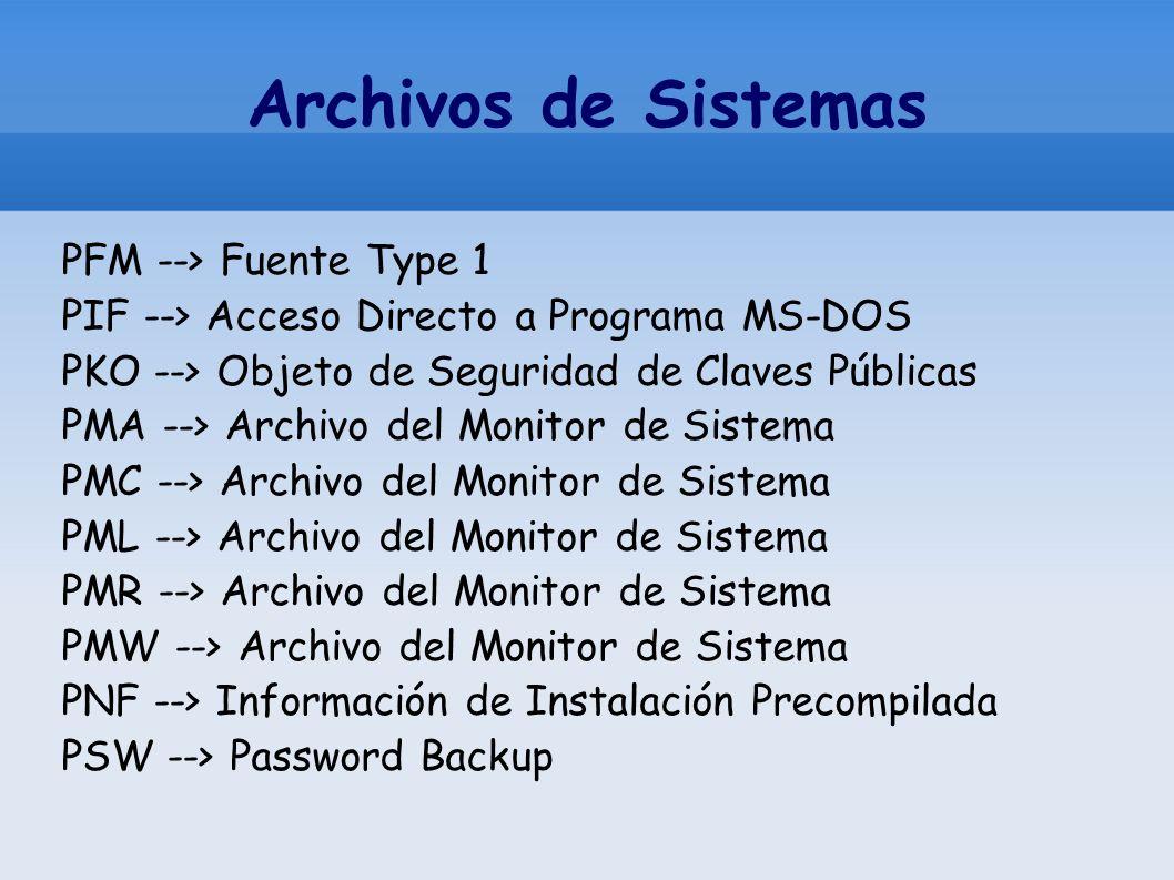 Archivos de Sistemas PFM --> Fuente Type 1 PIF --> Acceso Directo a Programa MS-DOS PKO --> Objeto de Seguridad de Claves Públicas PMA --> Archivo del