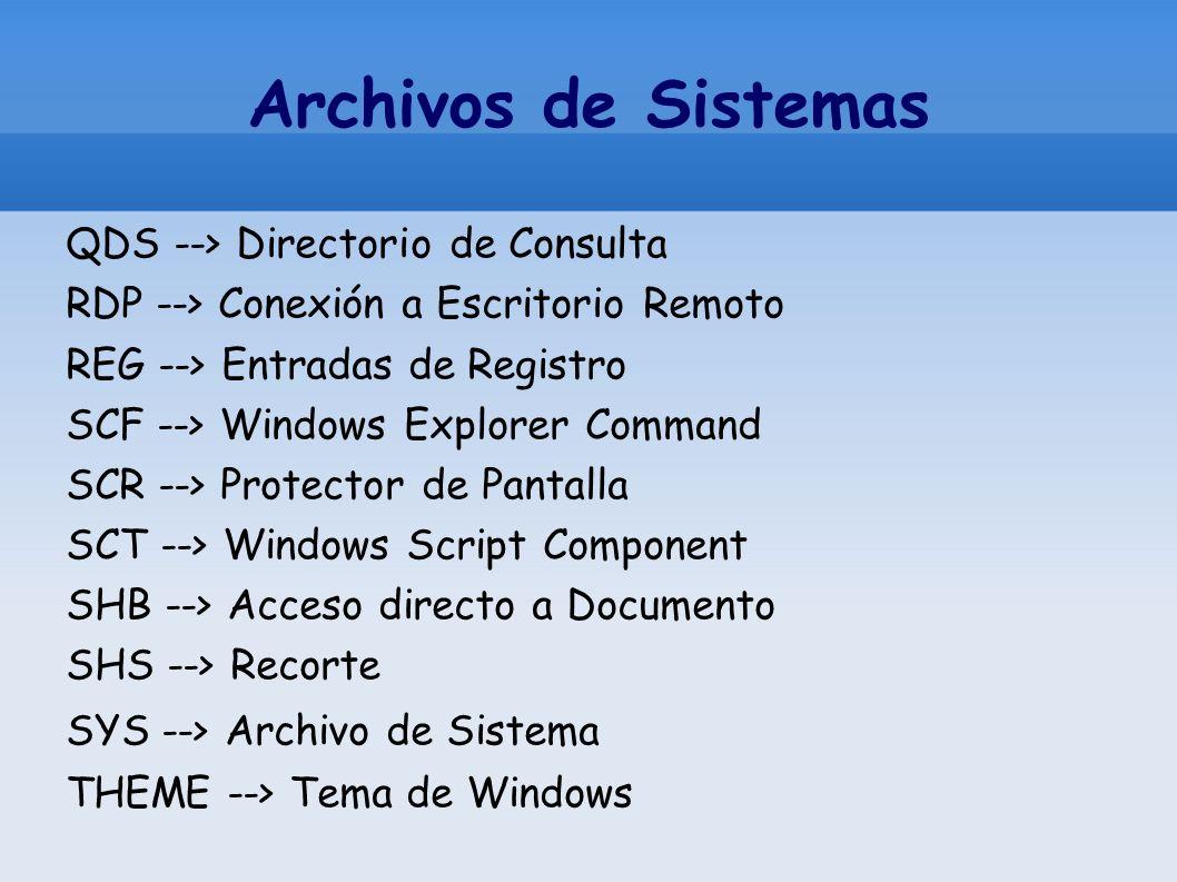 Archivos de Sistemas QDS --> Directorio de Consulta RDP --> Conexión a Escritorio Remoto REG --> Entradas de Registro SCF --> Windows Explorer Command