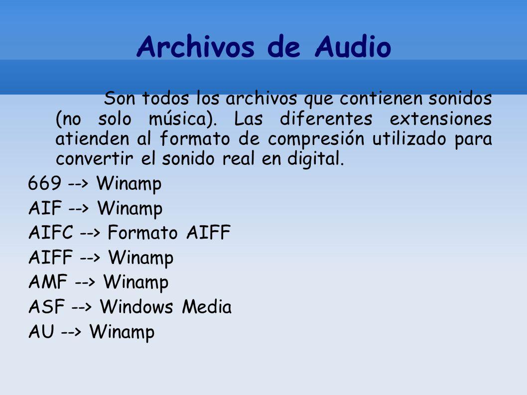 Archivos de Audio Son todos los archivos que contienen sonidos (no solo música). Las diferentes extensiones atienden al formato de compresión utilizad
