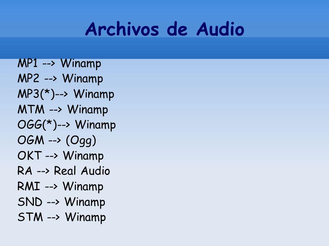 Archivos de Audio MP1 --> Winamp MP2 --> Winamp MP3(*)--> Winamp MTM --> Winamp OGG(*)--> Winamp OGM --> (Ogg) OKT --> Winamp RA --> Real Audio RMI --