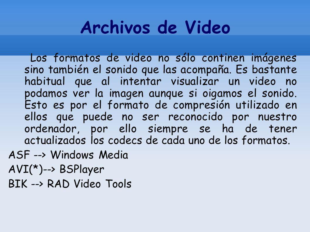 Archivos de Video Los formatos de video no sólo continen imágenes sino también el sonido que las acompaña. Es bastante habitual que al intentar visual