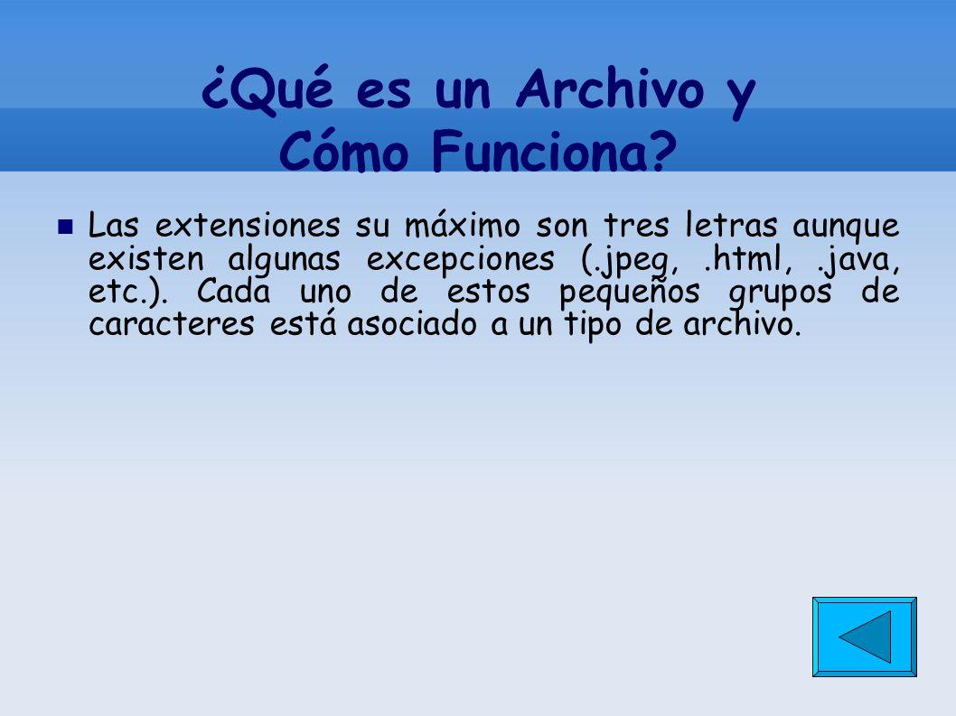 ¿Qué es un Archivo y Cómo Funciona? Las extensiones su máximo son tres letras aunque existen algunas excepciones (.jpeg,.html,.java, etc.). Cada uno d