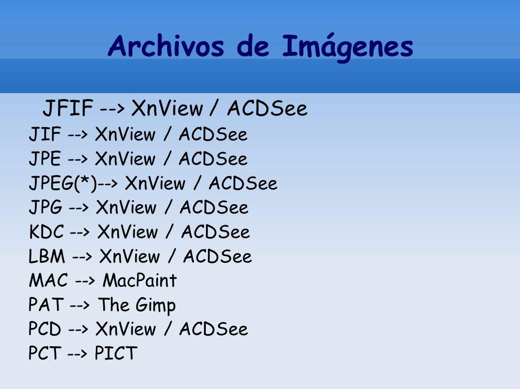 Archivos de Imágenes JFIF --> XnView / ACDSee JIF --> XnView / ACDSee JPE --> XnView / ACDSee JPEG(*)--> XnView / ACDSee JPG --> XnView / ACDSee KDC -