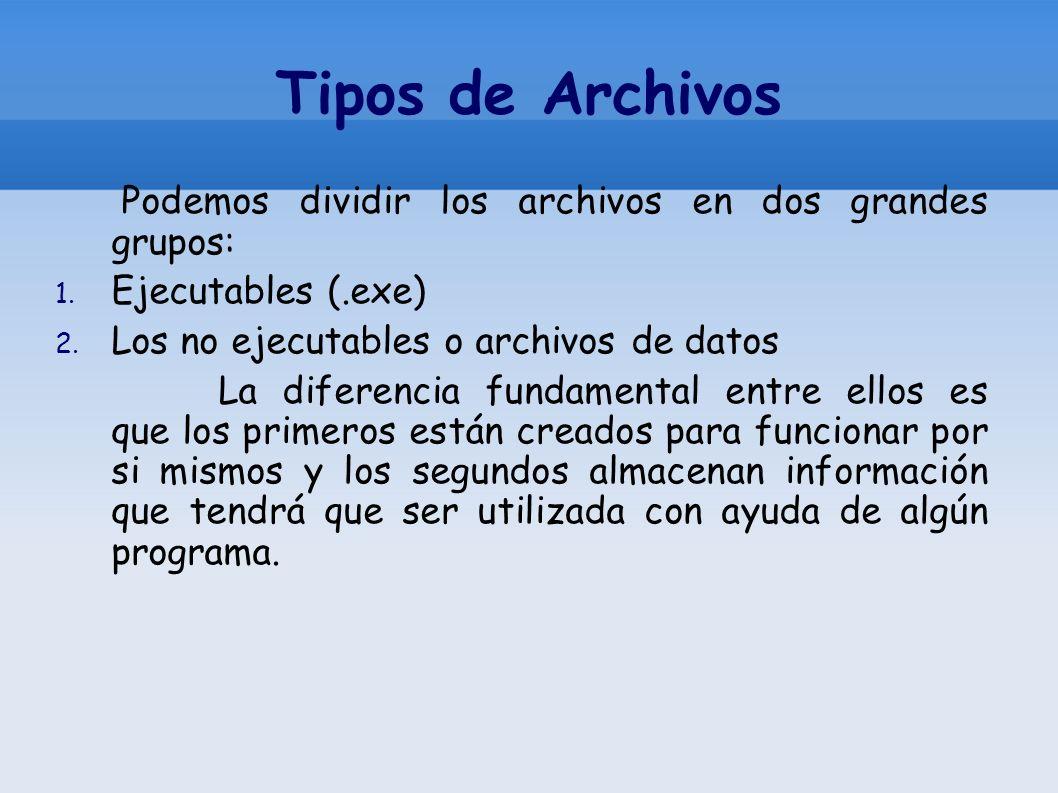 Tipos de Archivos Podemos dividir los archivos en dos grandes grupos: 1. Ejecutables (.exe) 2. Los no ejecutables o archivos de datos La diferencia fu
