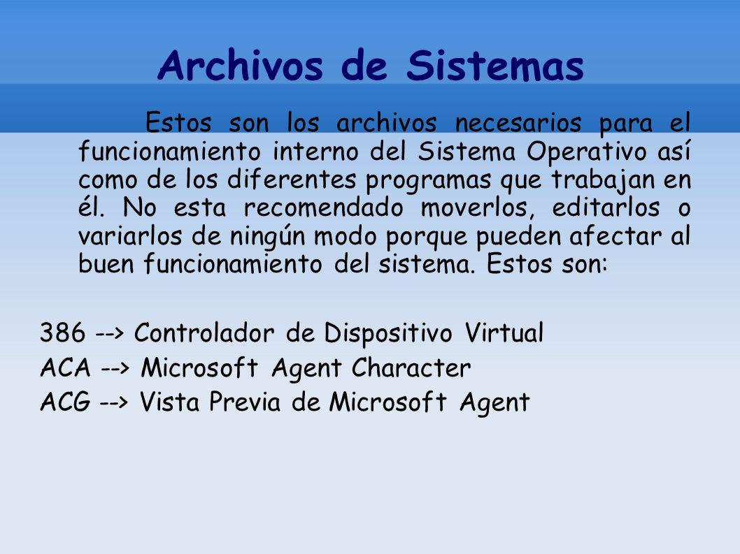 Archivos de Sistemas Estos son los archivos necesarios para el funcionamiento interno del Sistema Operativo así como de los diferentes programas que t