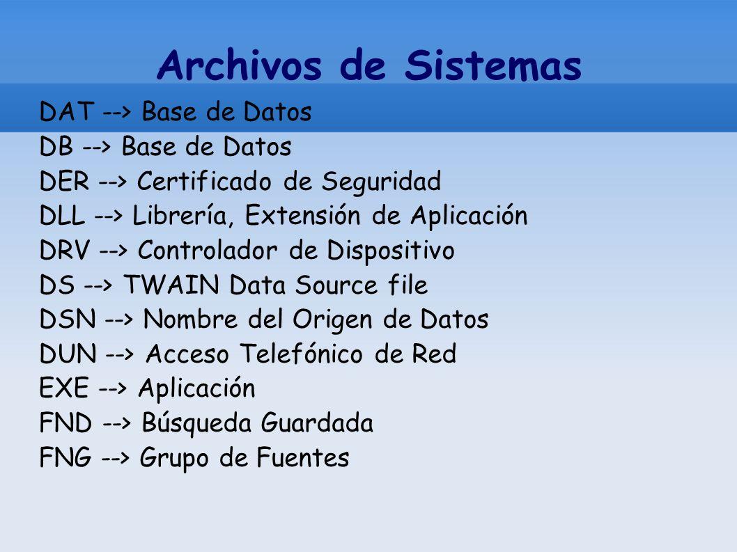 Archivos de Sistemas DAT --> Base de Datos DB --> Base de Datos DER --> Certificado de Seguridad DLL --> Librería, Extensión de Aplicación DRV --> Con