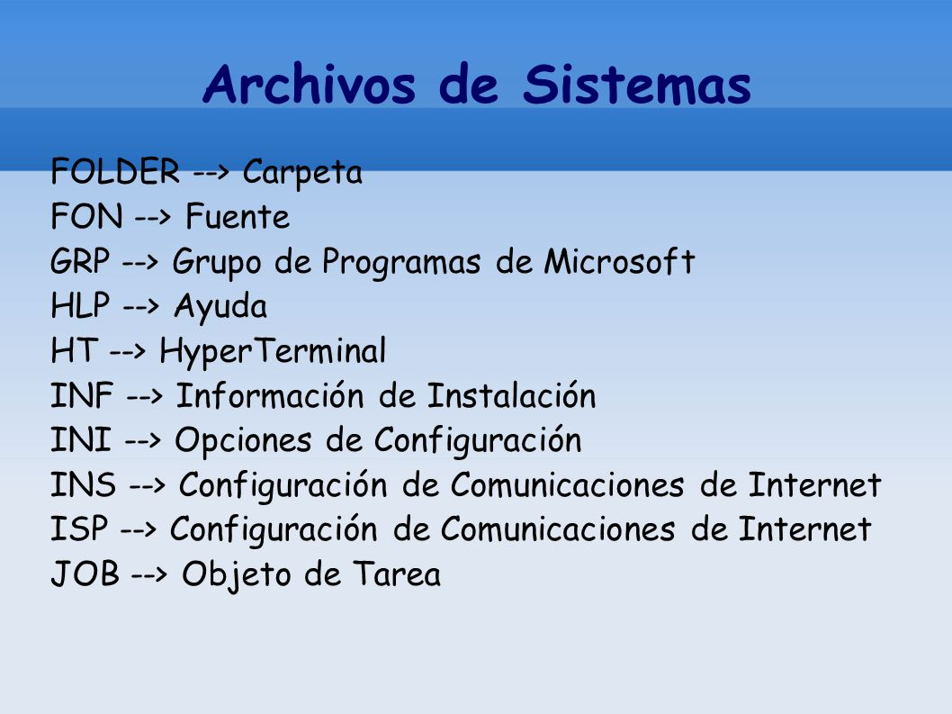 Archivos de Sistemas FOLDER --> Carpeta FON --> Fuente GRP --> Grupo de Programas de Microsoft HLP --> Ayuda HT --> HyperTerminal INF --> Información