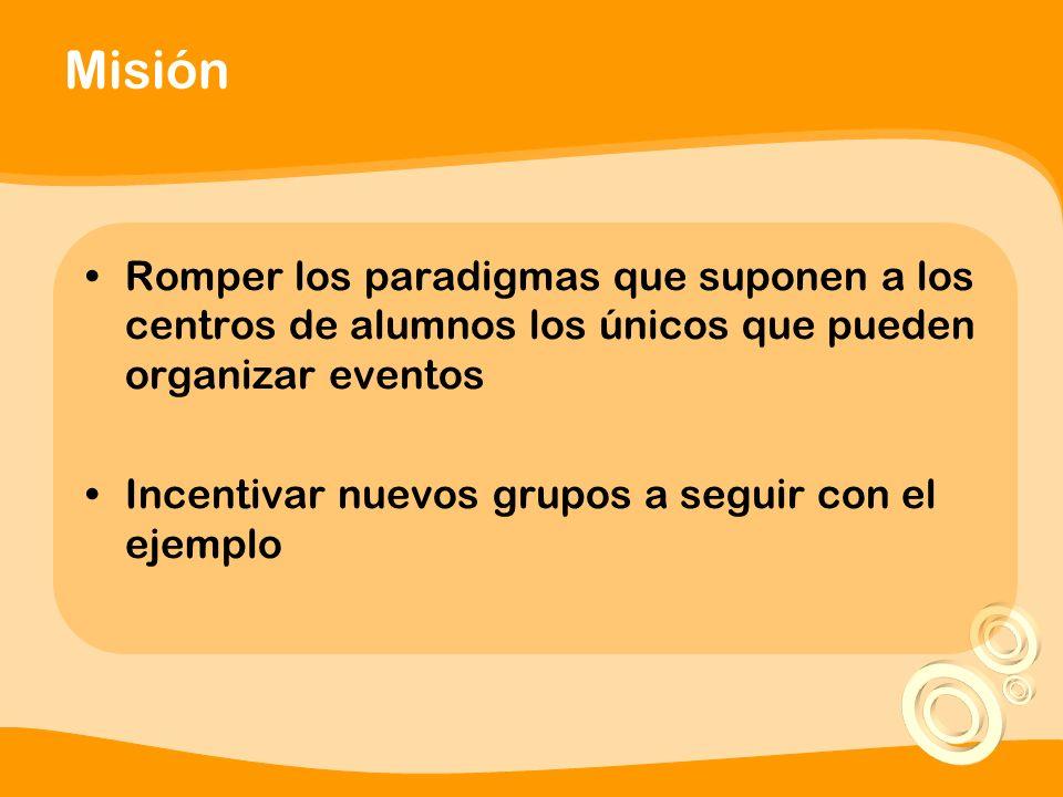 Misión Romper los paradigmas que suponen a los centros de alumnos los únicos que pueden organizar eventos Incentivar nuevos grupos a seguir con el ejemplo