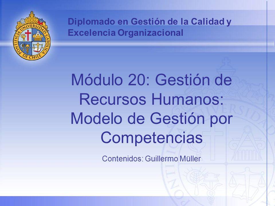 Diplomado en Gestión de la Calidad y Excelencia Organizacional Módulo 20: Gestión de Recursos Humanos: Modelo de Gestión por Competencias Contenidos: