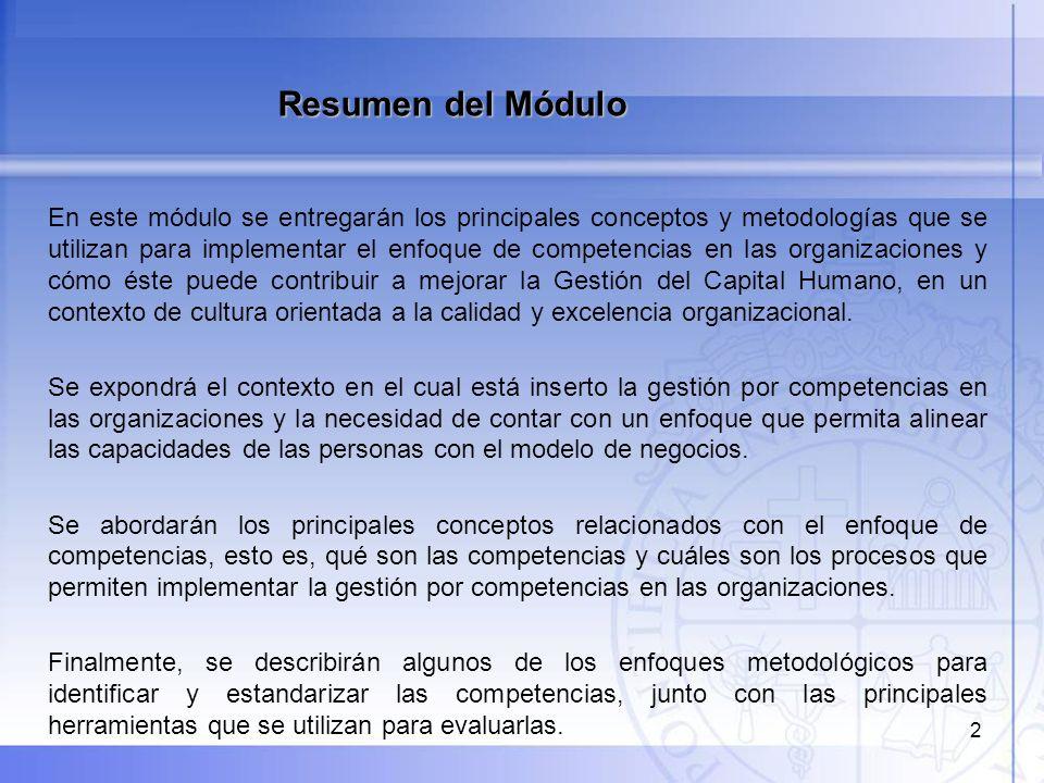 2 En este módulo se entregarán los principales conceptos y metodologías que se utilizan para implementar el enfoque de competencias en las organizacio