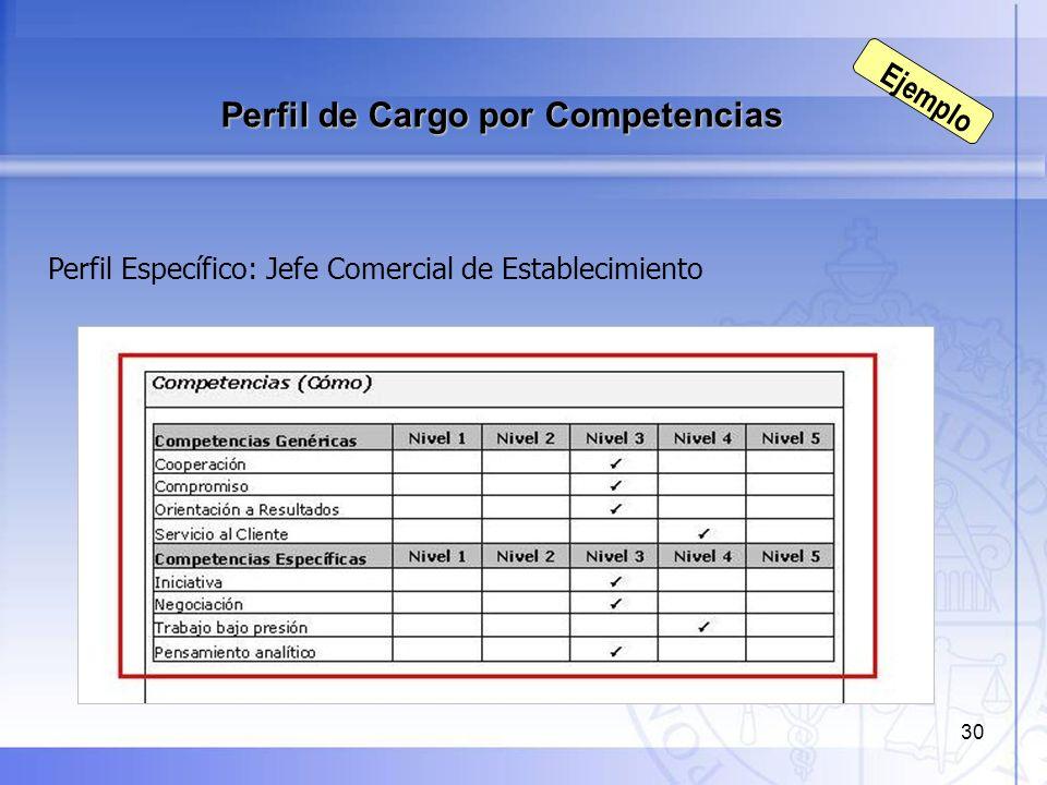 30 Perfil Específico: Jefe Comercial de Establecimiento Perfil de Cargo por Competencias Ejemplo