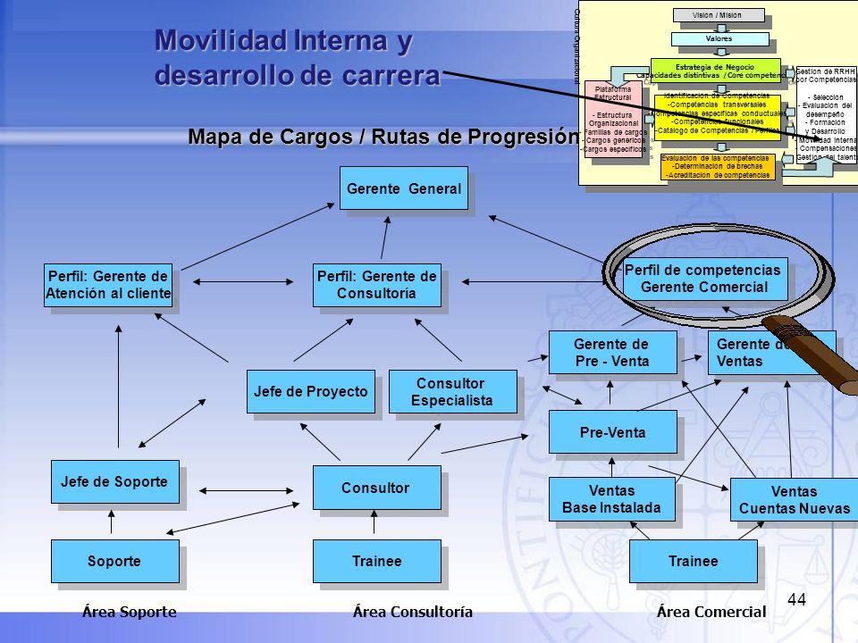 44 Mapa de Cargos / Rutas de Progresión Trainee Perfil: Gerente de Consultoría Perfil: Gerente de Consultoría Consultor Especialista Consultor Especia