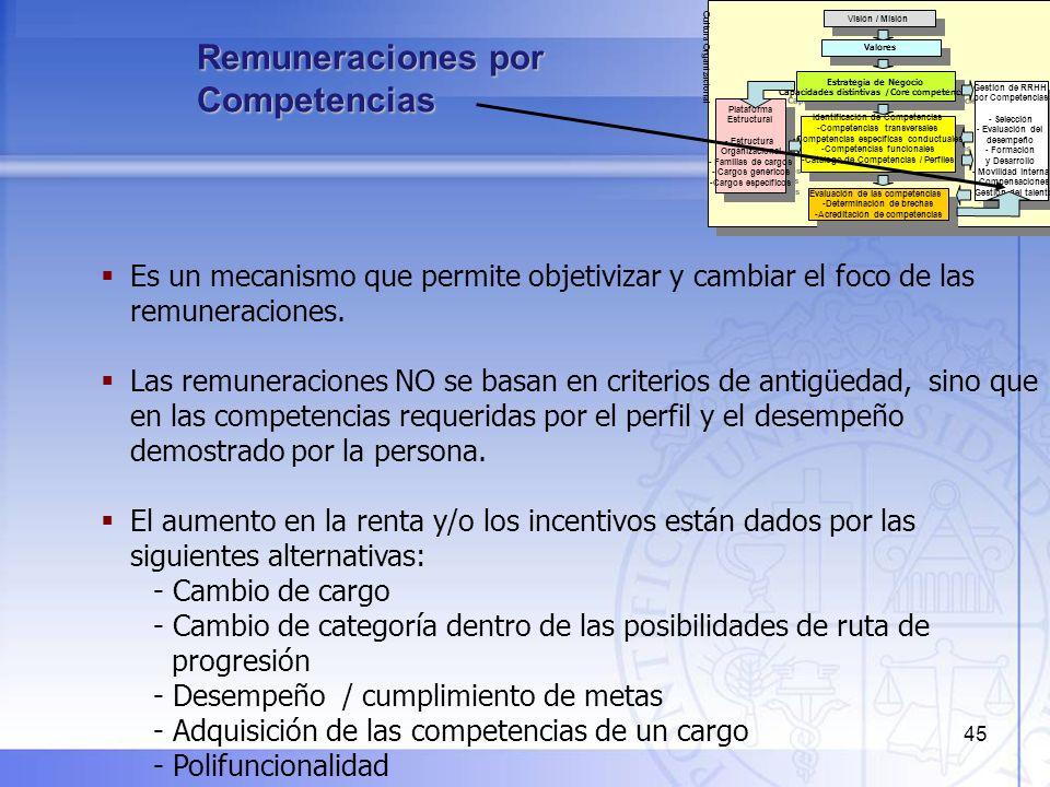 45 Remuneraciones por Competencias Visión / Misión Estrategia de Negocio Capacidades distintivas /Core competencies Estrategia de Negocio Capacidades