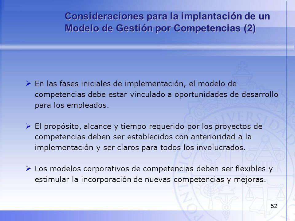 52 En las fases iniciales de implementación, el modelo de competencias debe estar vinculado a oportunidades de desarrollo para los empleados. El propó