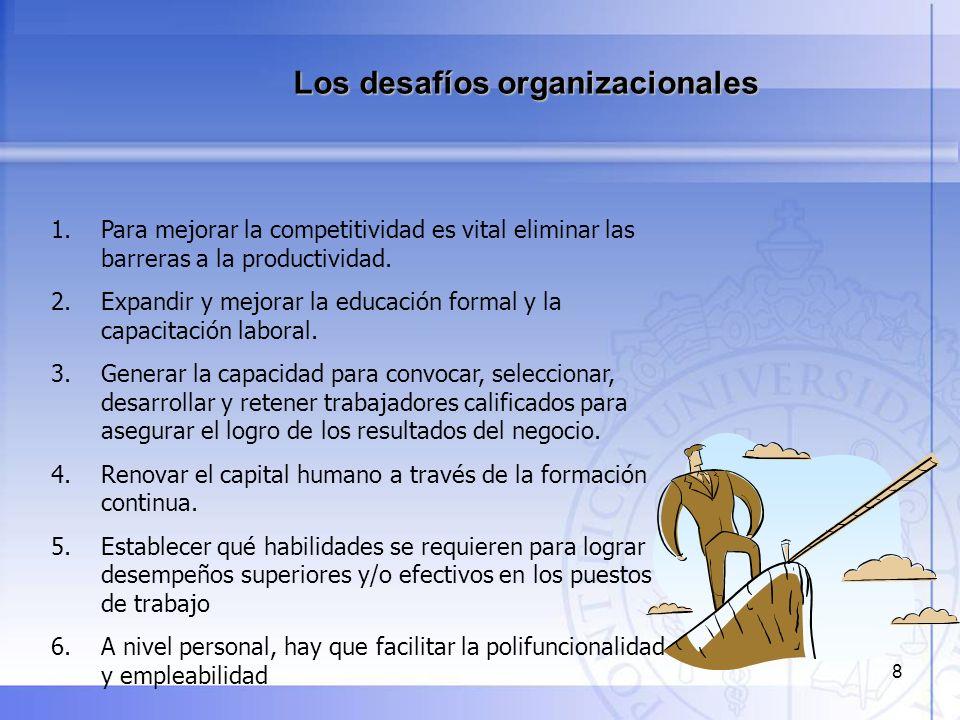 8 Los desafíos organizacionales 1. Para mejorar la competitividad es vital eliminar las barreras a la productividad. 2. Expandir y mejorar la educació