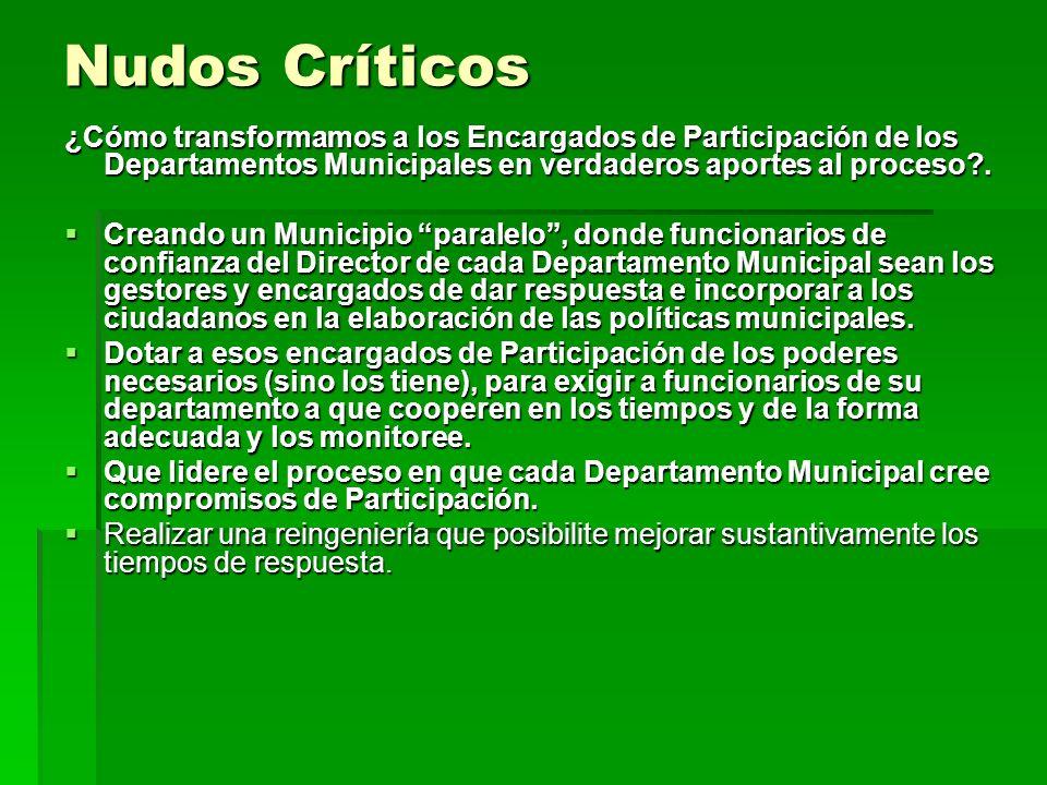 Nudos Críticos ¿Cómo transformamos a los Encargados de Participación de los Departamentos Municipales en verdaderos aportes al proceso .