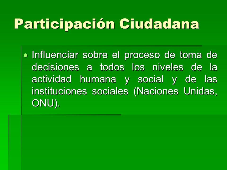 Participación Ciudadana Influenciar sobre el proceso de toma de decisiones a todos los niveles de la actividad humana y social y de las instituciones sociales (Naciones Unidas, ONU).