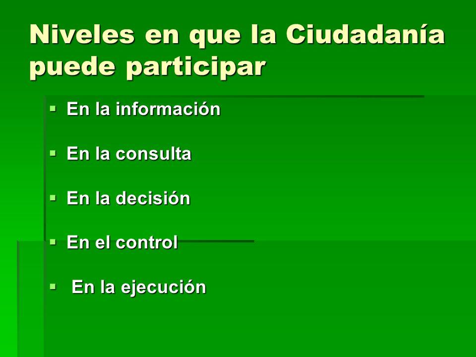Niveles en que la Ciudadanía puede participar En la información En la información En la consulta En la consulta En la decisión En la decisión En el control En el control En la ejecución En la ejecución