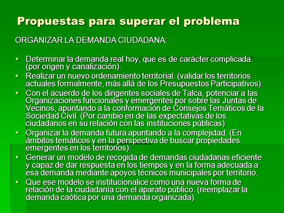 Propuestas para superar el problema ORGANIZAR LA OFERTA MUNICIPAL.