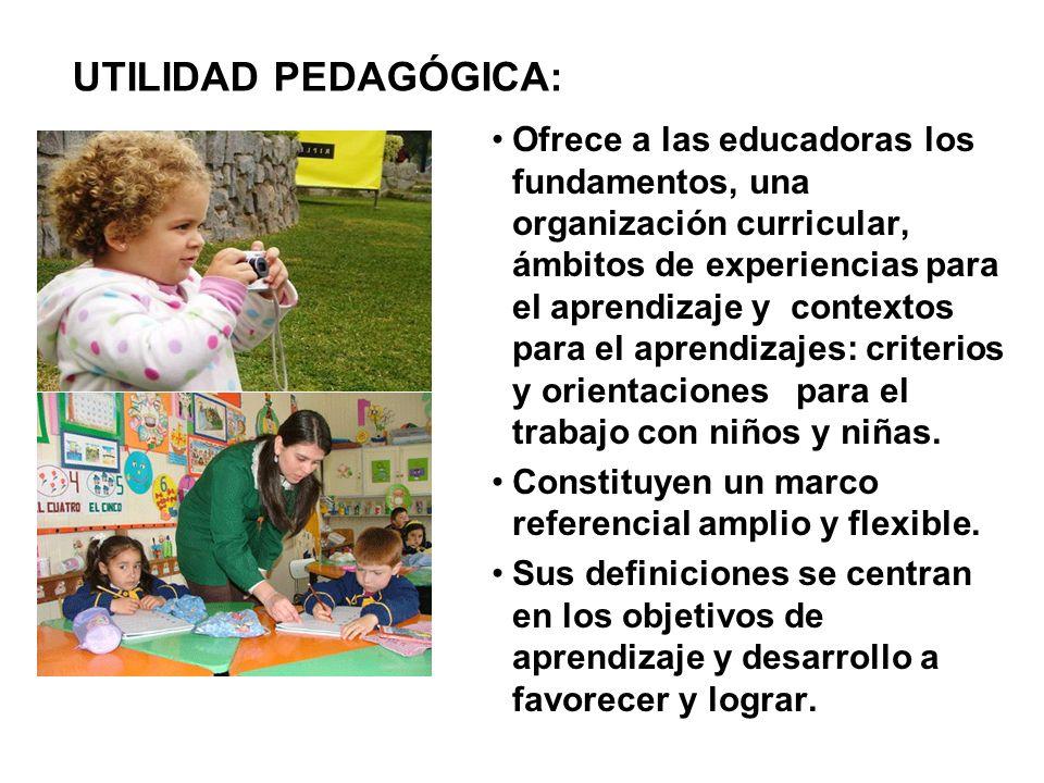 Ofrece a las educadoras los fundamentos, una organización curricular, ámbitos de experiencias para el aprendizaje y contextos para el aprendizajes: cr