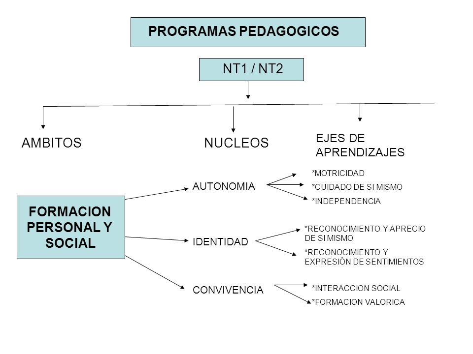 NT1 / NT2 AMBITOSNUCLEOS EJES DE APRENDIZAJES FORMACION PERSONAL Y SOCIAL AUTONOMIA IDENTIDAD CONVIVENCIA *MOTRICIDAD *CUIDADO DE SI MISMO *INDEPENDEN