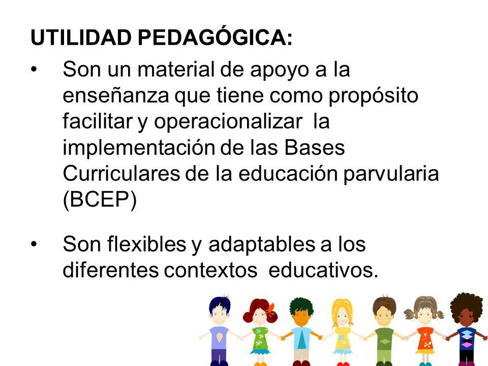UTILIDAD PEDAGÓGICA: Son un material de apoyo a la enseñanza que tiene como propósito facilitar y operacionalizar la implementación de las Bases Curri
