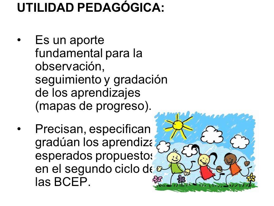 UTILIDAD PEDAGÓGICA: Es un aporte fundamental para la observación, seguimiento y gradación de los aprendizajes (mapas de progreso). Precisan, especifi