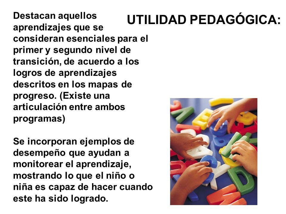 UTILIDAD PEDAGÓGICA: Destacan aquellos aprendizajes que se consideran esenciales para el primer y segundo nivel de transición, de acuerdo a los logros