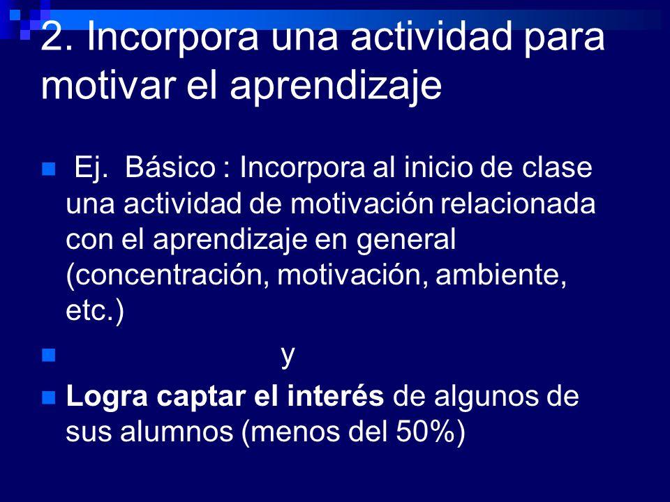 2. Incorpora una actividad para motivar el aprendizaje Ej. Básico : Incorpora al inicio de clase una actividad de motivación relacionada con el aprend