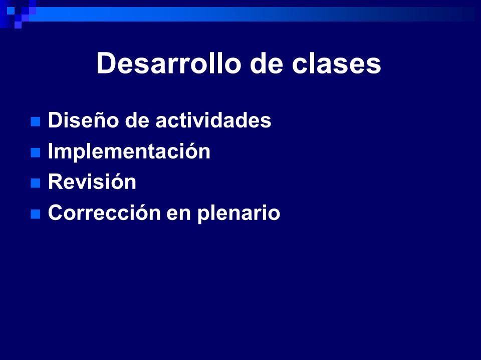 Desarrollo de clases Diseño de actividades Implementación Revisión Corrección en plenario