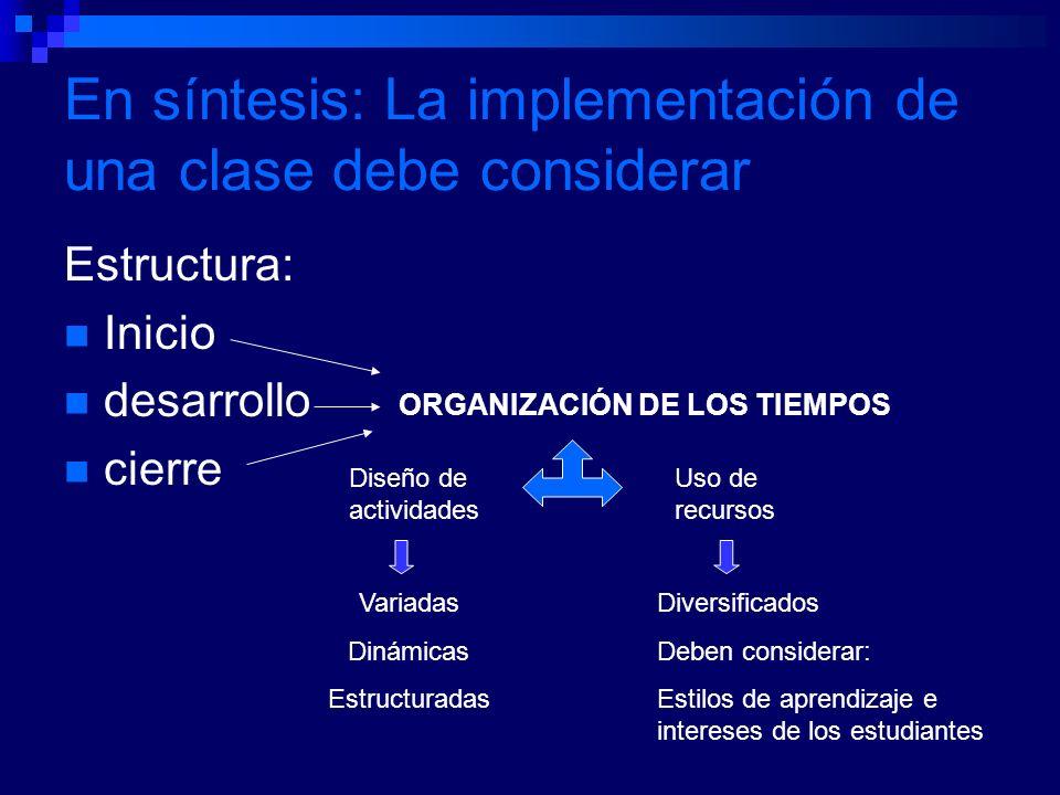 En síntesis: La implementación de una clase debe considerar Estructura: Inicio desarrollo cierre ORGANIZACIÓN DE LOS TIEMPOS Diseño de actividades Uso