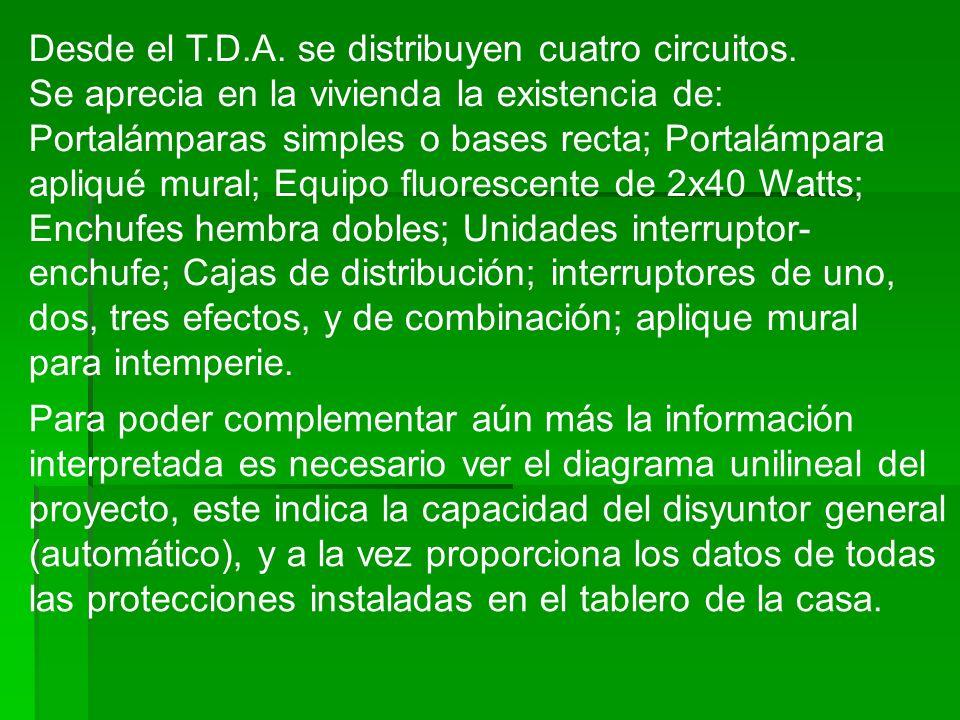 Desde el T.D.A. se distribuyen cuatro circuitos. Se aprecia en la vivienda la existencia de: Portalámparas simples o bases recta; Portalámpara apliqué