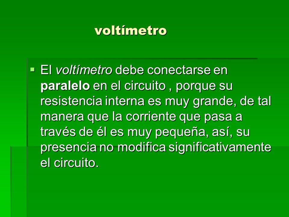 voltímetro voltímetro El voltímetro debe conectarse en paralelo en el circuito, porque su resistencia interna es muy grande, de tal manera que la corr