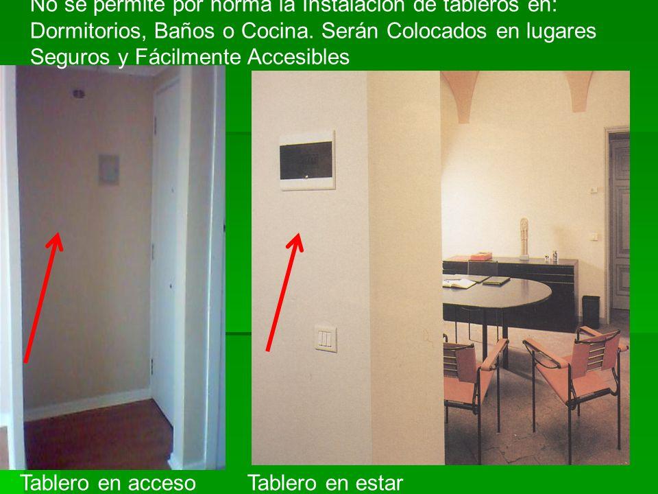 No se permite por norma la Instalación de tableros en: Dormitorios, Baños o Cocina. Serán Colocados en lugares Seguros y Fácilmente Accesibles Tablero