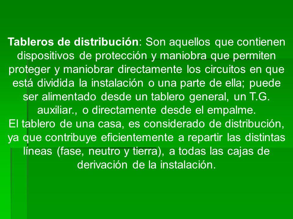 Tableros de distribución: Son aquellos que contienen dispositivos de protección y maniobra que permiten proteger y maniobrar directamente los circuito