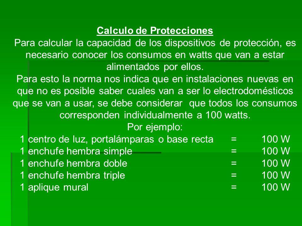 Calculo de Protecciones Para calcular la capacidad de los dispositivos de protección, es necesario conocer los consumos en watts que van a estar alime