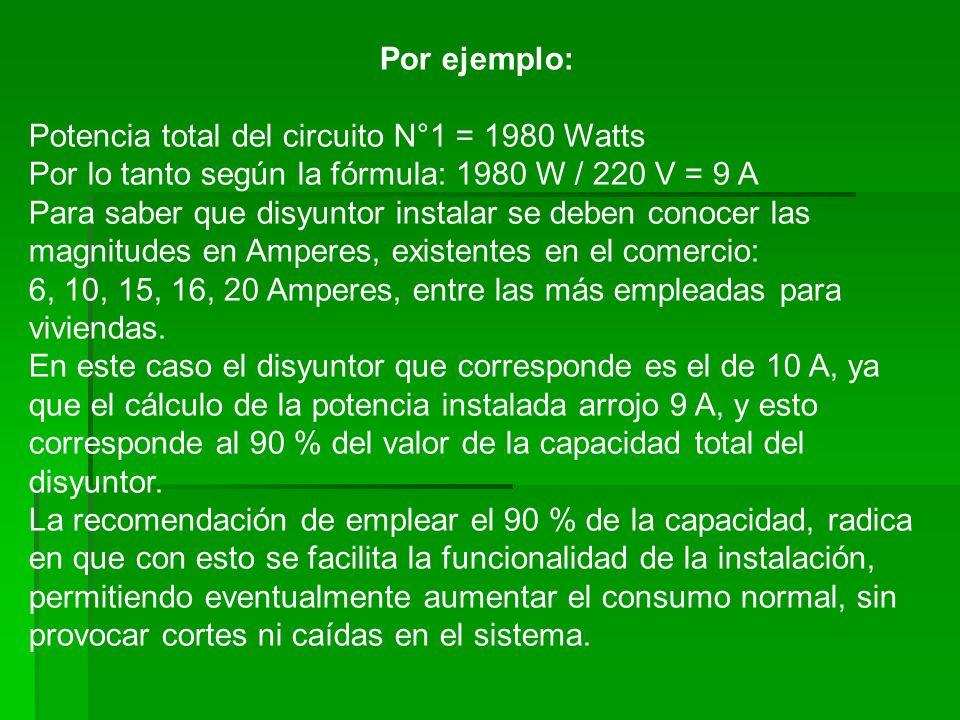 Por ejemplo: Potencia total del circuito N°1 = 1980 Watts Por lo tanto según la fórmula: 1980 W / 220 V = 9 A Para saber que disyuntor instalar se deb