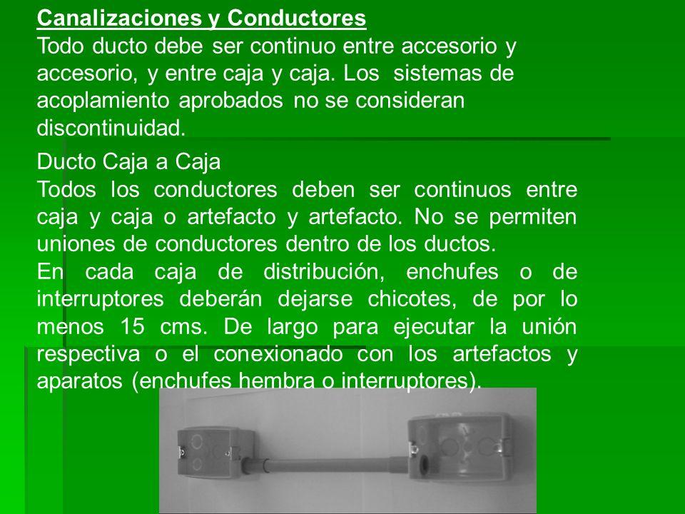 Canalizaciones y Conductores Todo ducto debe ser continuo entre accesorio y accesorio, y entre caja y caja. Los sistemas de acoplamiento aprobados no