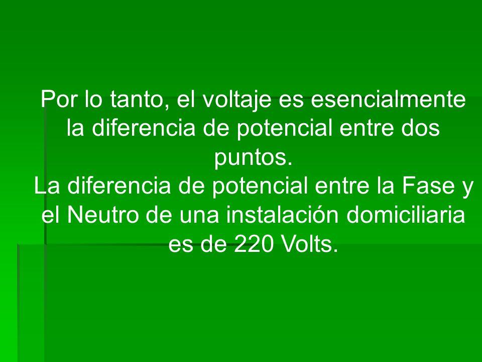 Por lo tanto, el voltaje es esencialmente la diferencia de potencial entre dos puntos. La diferencia de potencial entre la Fase y el Neutro de una ins