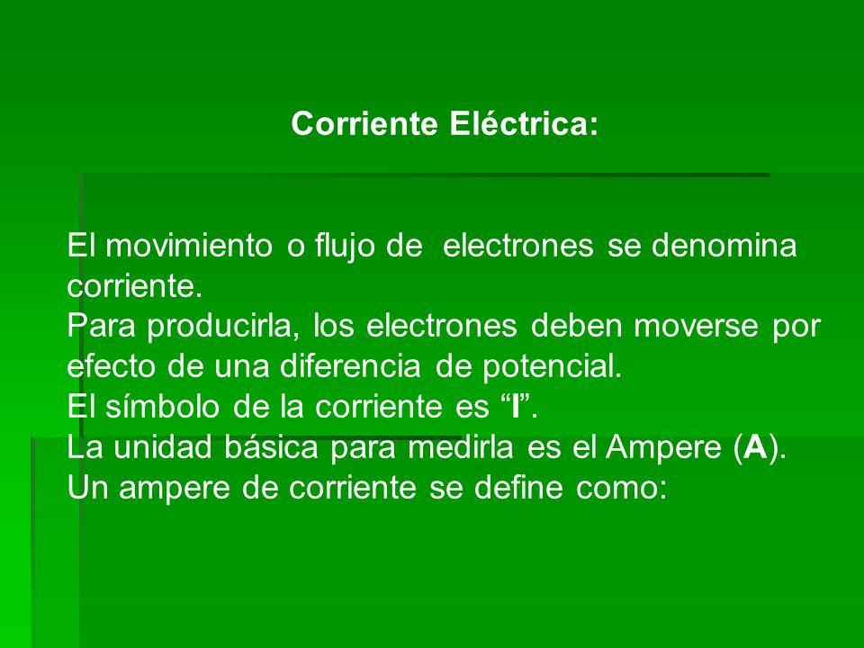 Corriente Eléctrica: El movimiento o flujo de electrones se denomina corriente. Para producirla, los electrones deben moverse por efecto de una difere